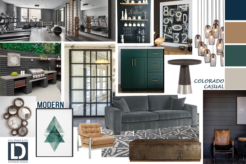 Concept board with many photos of ideas for clubhouse design with a dark green and tan style.