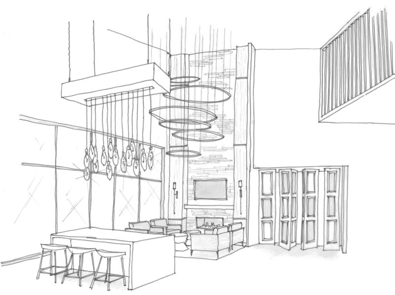 Black and white pencil sketch of a clubhouse sitting area with high ceilings and elaborate fireplace and light fixtures.