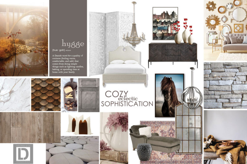 Concept board with many photos portraying a cozy and sophisticated home with copper and blush tones.