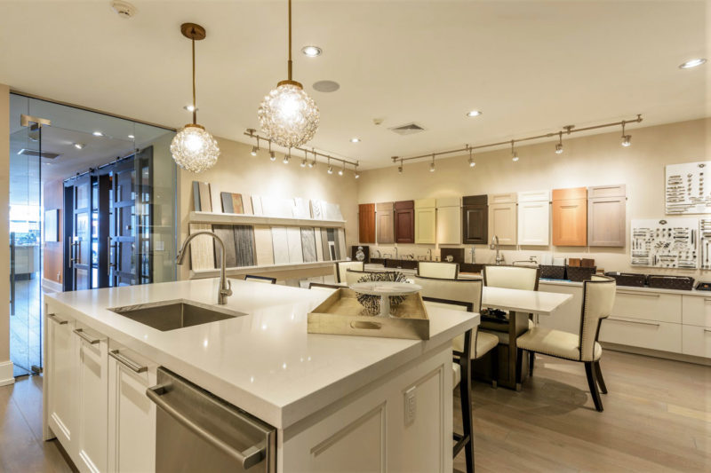 Design center showcasing modern interior design and merchandising cabinetry, countertop and finishes in New York.