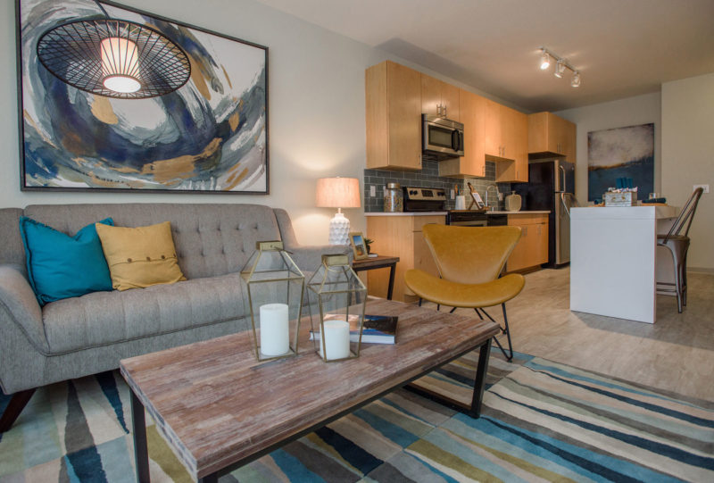 Multifamily cozy apartment with tan, blue, and neutral shades throughout living area in Denver, Colorado.