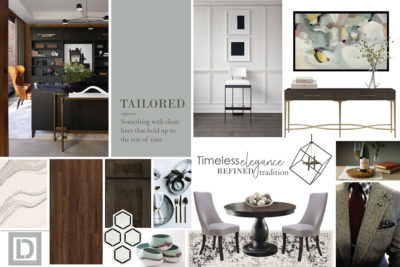 Concept board with many photos suggesting a tailored and timeless look with tons of grey and white.