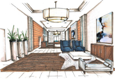 Color rendering of a lobby space with hardwood floors, wood plank accent walls, and modern furniture.