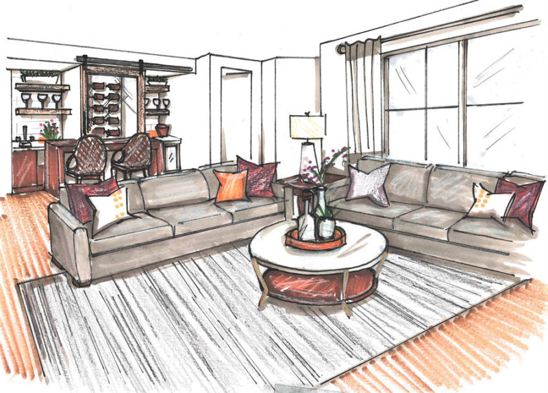 Color rendering of a living room with a built in bar with purple and orange accent throughout the space.