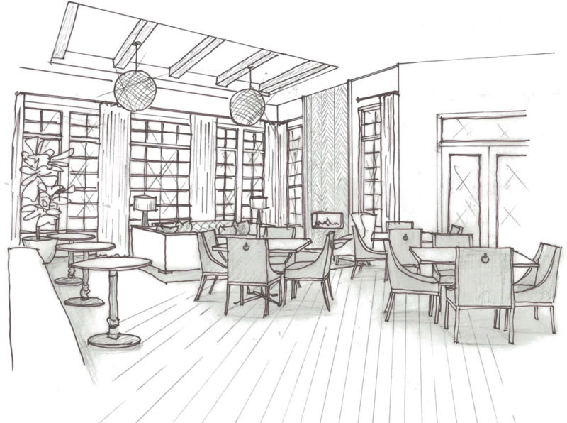 Black and white pencil sketch of a clubhouse with tall ceilings, many table and chairs with wood beam ceilings.