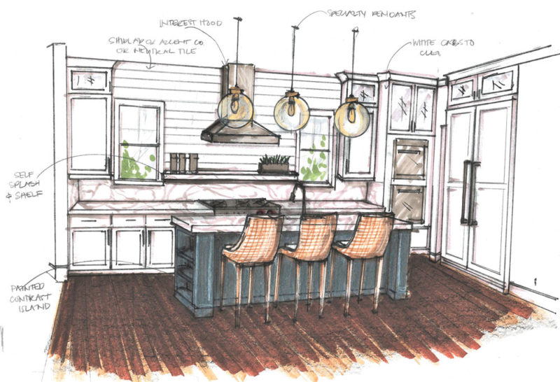 Color rendering of farmhouse style kitchen with white cabinets and blue accent island.