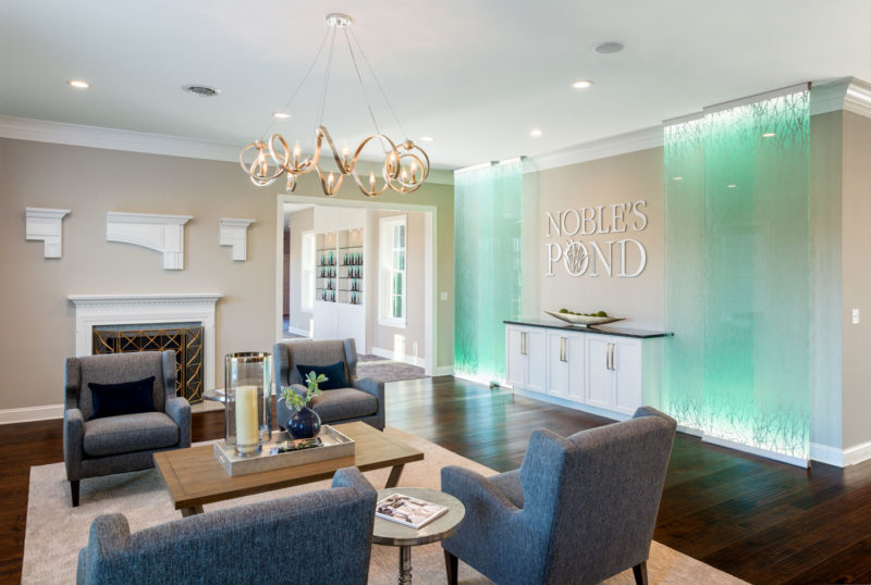 Design center within model home showcasing design and merchandising options for flooring and tile in Delaware.