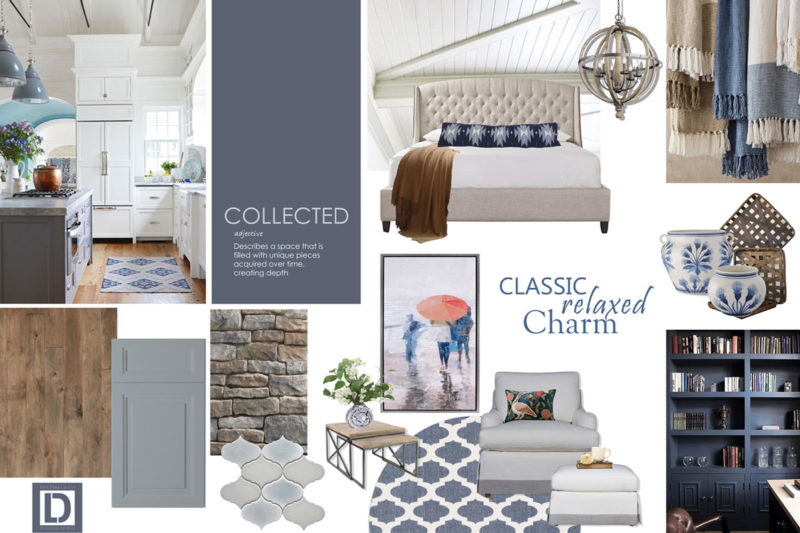 Collage concept board with light blue, cream, and white finishes for single family home.