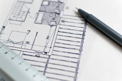 Close up of interior design floor plan sketch