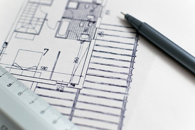Close up of interior design floor plan sketch