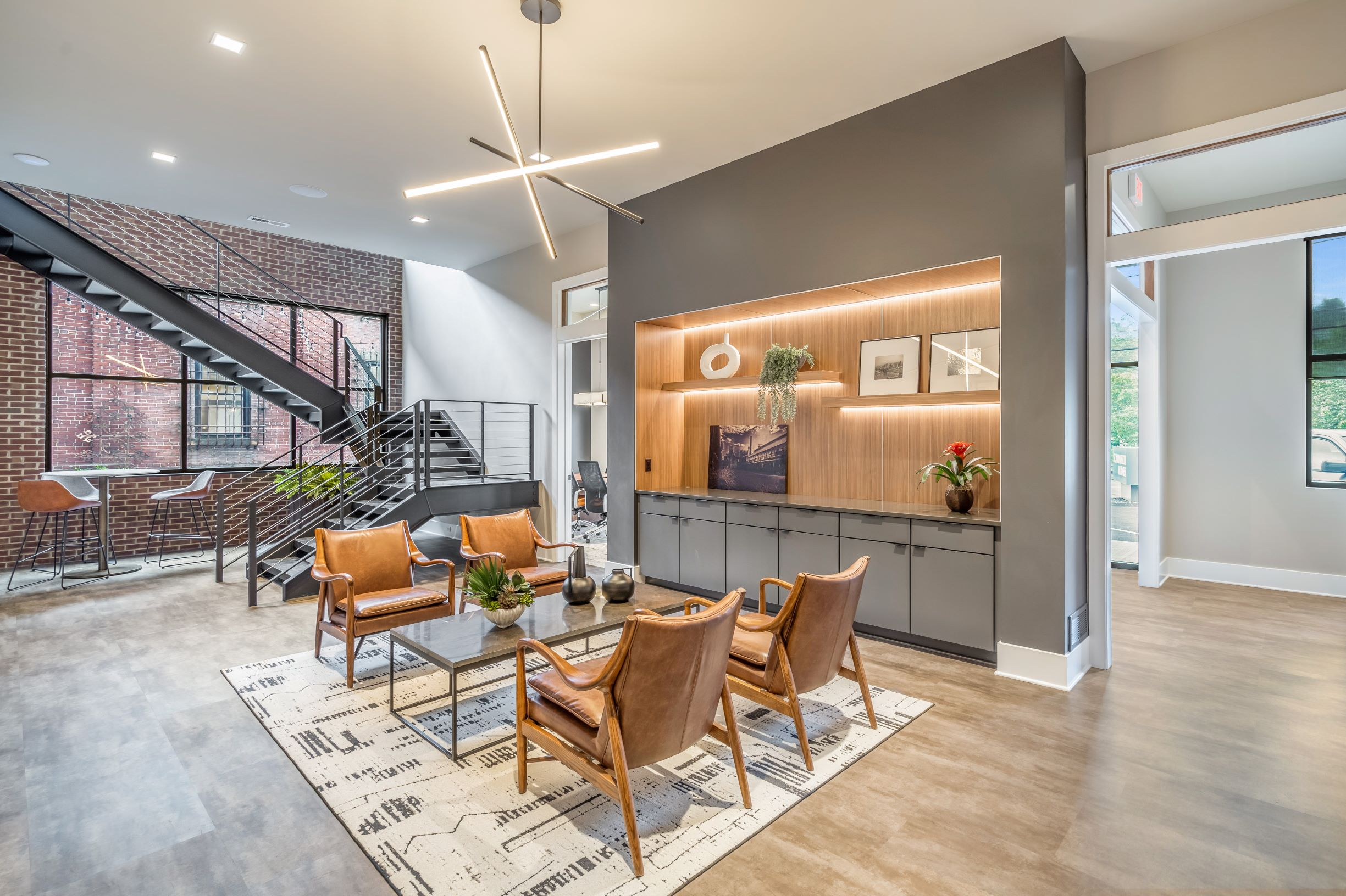 Open floor plan of design center and office space.
