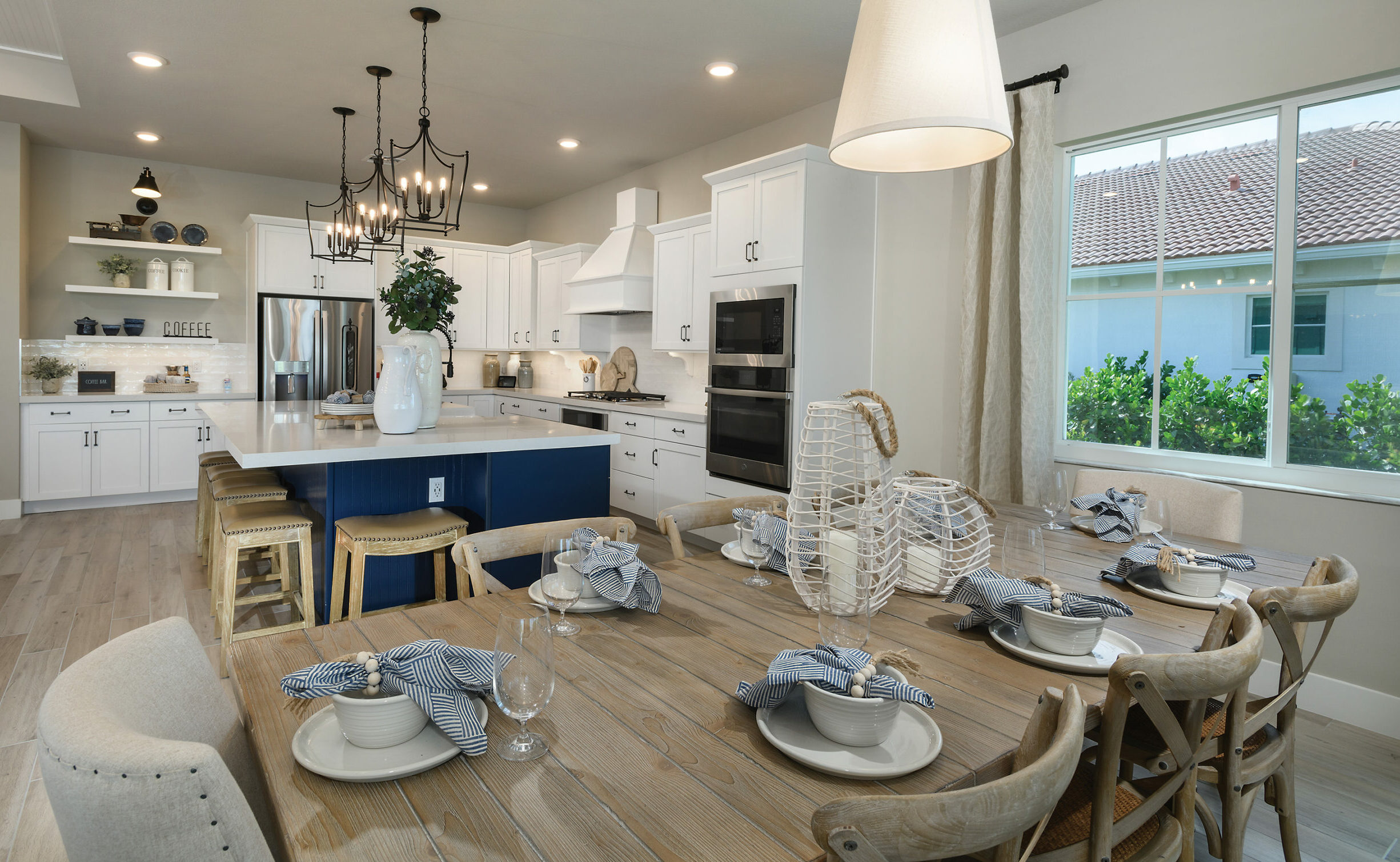Luxury model home kitchen and dinning area.